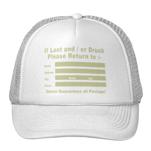 Si es perdido y/o por favor bebida vuelta a gorra