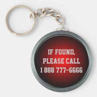 Si está encontrado, llame… Llavero grande del botó