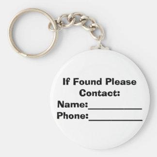 Si está encontrado por favor para entrar en contac llavero redondo tipo pin