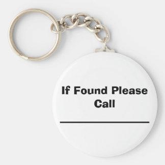Si está encontrado por favor para llamar llavero redondo tipo pin