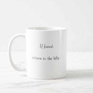 Si está encontrado, vuelva al zurdo taza básica blanca