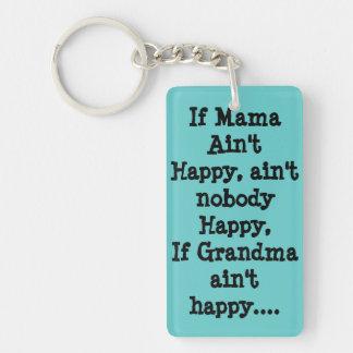 Si la mamá no es feliz llavero rectangular acrílico a doble cara