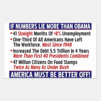 ¡Si mentira de los números más que Obama! Pegatina Rectangular