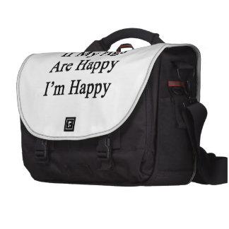 Si mis cerdos son felices que soy feliz bolsas para portátil