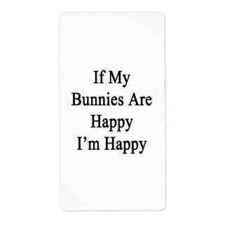 Si mis conejitos son felices que soy feliz etiqueta de envío