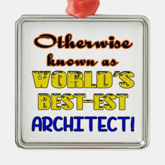 Si no conocido como arquitecto más bestest del adorno navideño cuadrado de metal