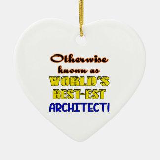 Si no conocido como arquitecto más bestest del adorno navideño de cerámica en forma de corazón