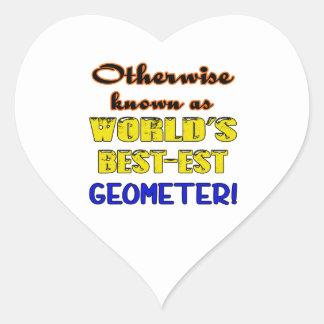 Si no conocido como geómetra más bestest del mundo pegatina en forma de corazón