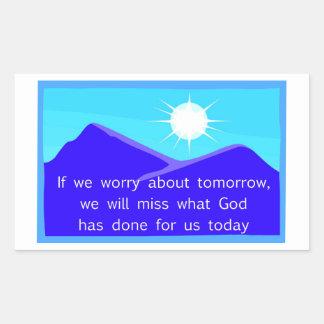 Si nos preocupamos de decir cristiano de la mañana rectangular pegatina