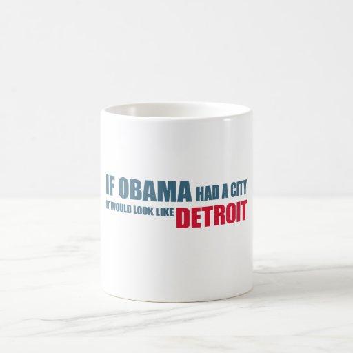 Si Obama tuviera una ciudad, parecería Detroit Taza Básica Blanca