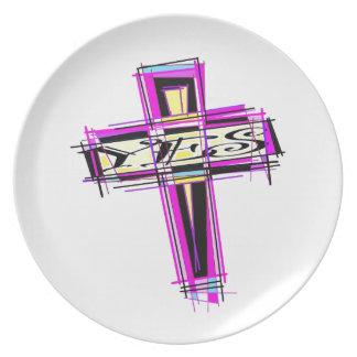 SÍ para la cruz Plato De Comida
