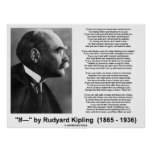 Si poema de Rudyard Kipling (imagen de Kipling) Posters
