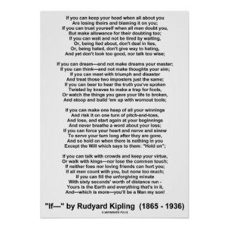 Si poema de Rudyard Kipling (ninguna imagen de Kip Posters