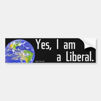 Sí, soy un liberal etiqueta de parachoque