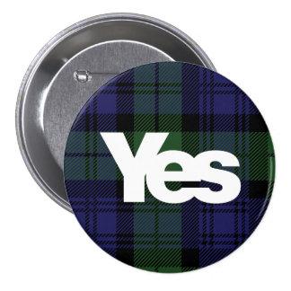 Sí tartán escocés 2014 de la independencia de pin redondo de 3 pulgadas