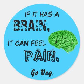 Si tiene un cerebro, puede sentir dolor. Va Veg Pegatina Redonda