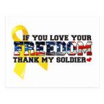 Si usted ama su libertad agradezca a mi soldado postal