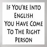 Si usted está en inglés usted ha venido a la derec poster