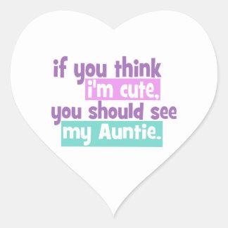 Si usted piensa Im lindo - tía Pegatina En Forma De Corazón