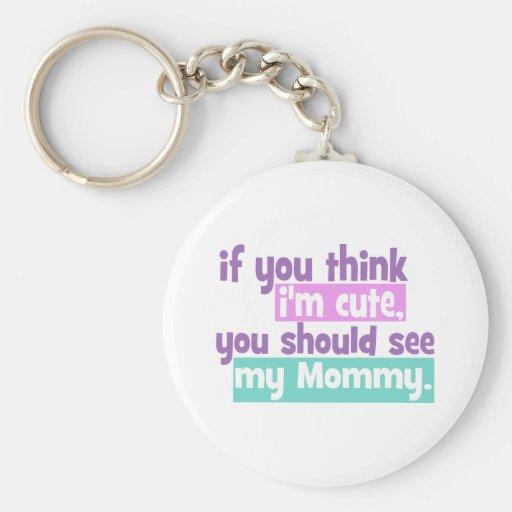 Si usted piensa Im lindo usted debe ver a mi mamá Llavero Redondo Tipo Pin