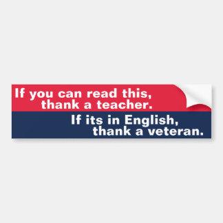 Si usted puede leer esto (el veterano) pegatina para auto