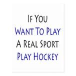 Si usted quiere jugar un real diviértase el hockey postales