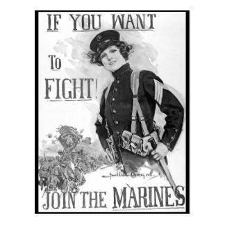 ¡Si usted quiere luchar!  Únase a la imagen de Tarjeta Postal