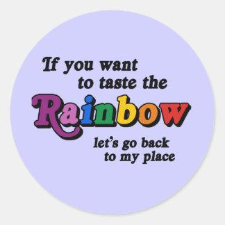 Si usted quiere probar el arco iris pegatina redonda