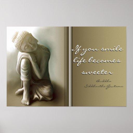 Si usted sonríe… poster de la cita de Buda