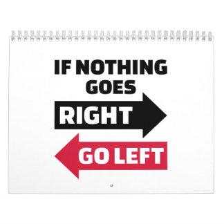 Si va nada a la derecha vaya a la izquierda calendario