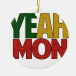 Sí vacaciones jamaicanas de lunes adorno navideño redondo de cerámica