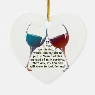 Si voy nunca a faltar… el vino de la diversión que adorno navideño de cerámica en forma de corazón