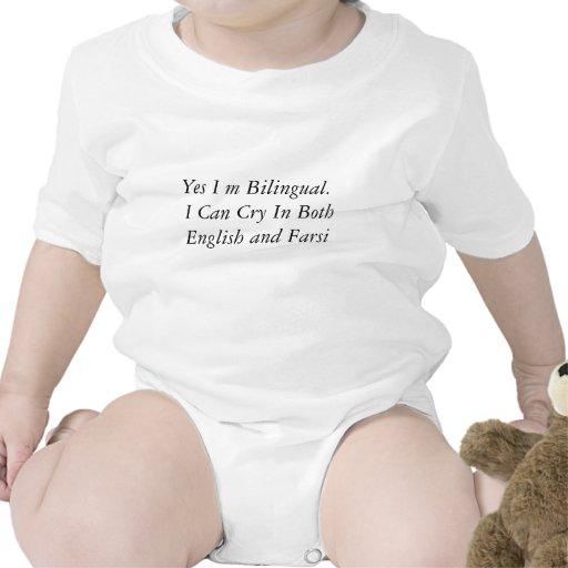 Sí yo bilingüe de m.  Puedo llorar en ambos ingles Camisetas