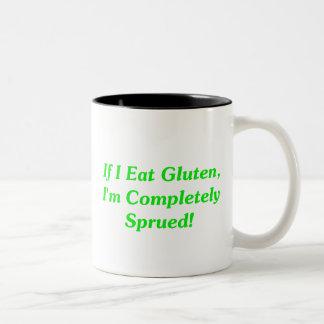 ¡Si yo como el gluten, soy totalmente Sprued! Taza De Dos Tonos