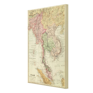 Siam, Burma and Anam Stretched Canvas Print