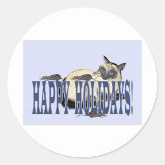Siamés y ratones buenas fiestas pegatina redonda