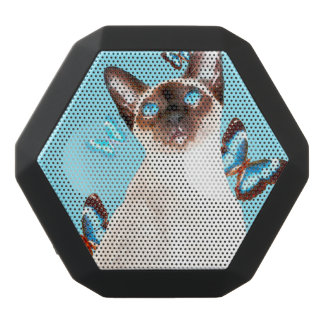 Siamese And Butterflies Black Bluetooth Speaker