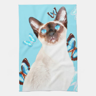 Siamese And Butterflies Kitchen Towel