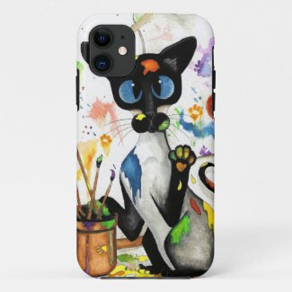 Siamese Artist Cat Art by Bihrle Case-Mate iPhone Case