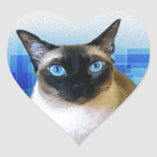 Siamese Blue Heart Sticker