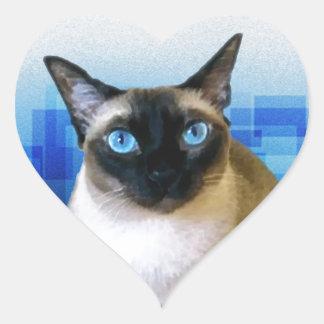 Siamese Blue Heart Sticker