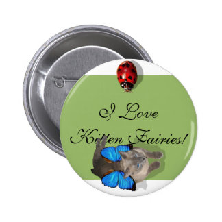 Siamese blue wing cat fairy buttons