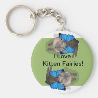 Siamese blue wing cat fairy basic round button keychain