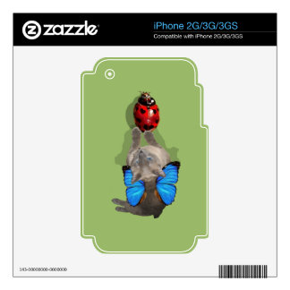 Siamese blue wing cat fairy lady bug iphone decal decal for iPhone 3G
