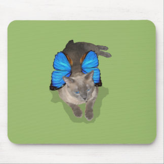 Siamese blue wing cat fairy mouse pad