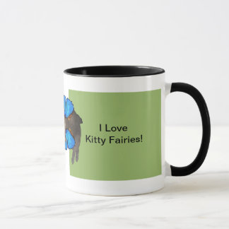Siamese blue wing cat fairy mug