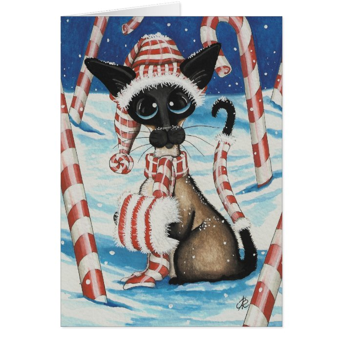 Siamese Candy Cane Kitty Card
