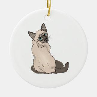 Siamese Cat 2 Ceramic Ornament