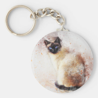 Siamese Cat Abstract Elements Keychain