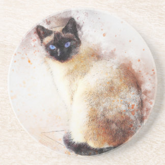 Siamese Cat Abstract Elements Sandstone Coaster